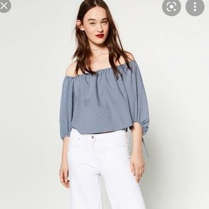 Zara blue gingham top